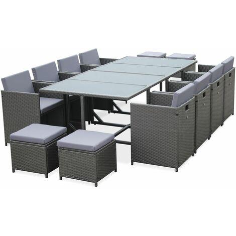 Gartenmöbel 8-12 Plätze - Cubo - Grau, graue Kissen, eingebauter Tisch, Würfel.