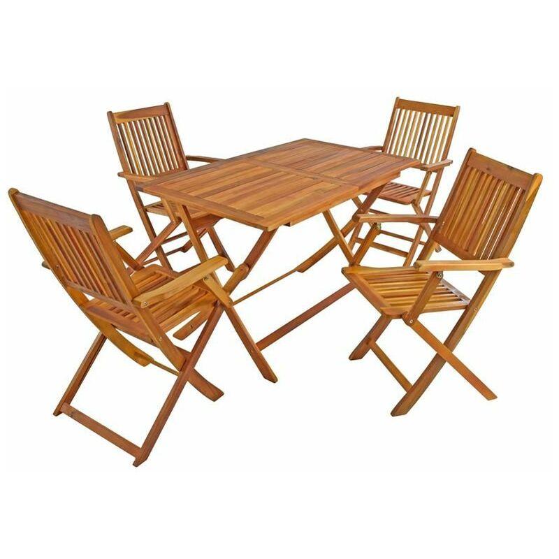 Gartenmöbel Akazie Sitzgruppe Holz Essgruppe Sitzgarnitur 5-tlg Gartengarnitur - ESTEXO