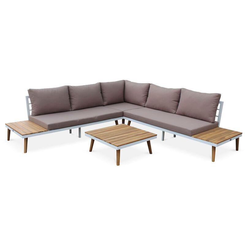 Gartengarnitur aus Holz 5 Sitze - Buenos Aires - Weißes Gestell/ Taupefarbene Kissen - Ecksofa, Seitenregale und Couchtisch aus Akazie,