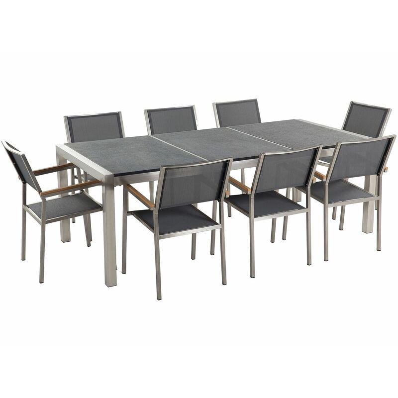 Gartenmöbel Set Schwarz Granit Edelstahl Tisch 220 cm Geflammt 8 Stühle Terrasse Outdoor Modern - BELIANI