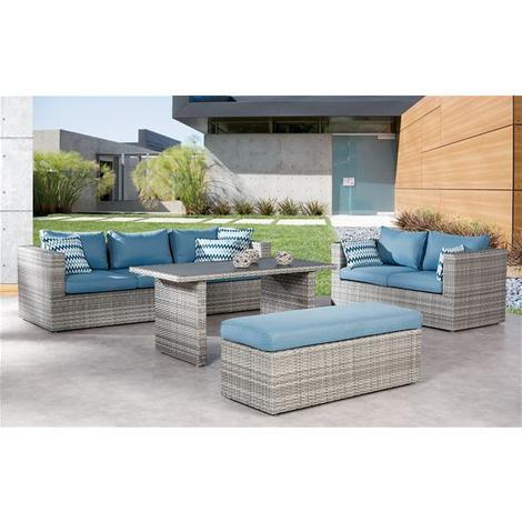 Gartenmöbel Lounge Möbel Set Curacao Best Polyrattan Grau Blau