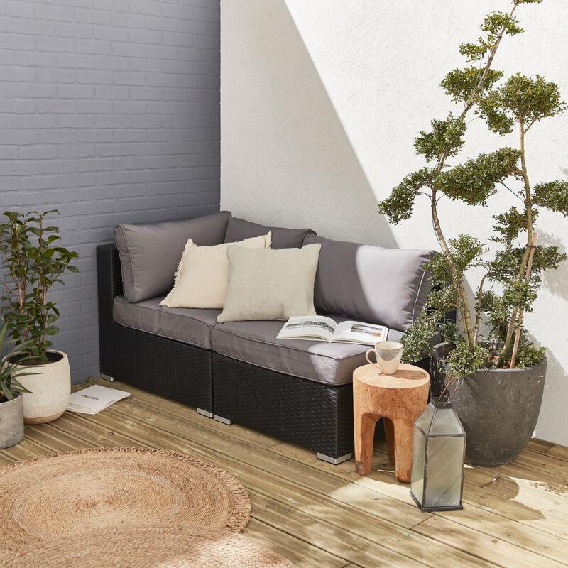 Gartenmöbel Lounge-Set aus Harzgeflecht - Brescia - 1 Ecksessel + 1 Sessel ohne Armlehne - ALICE'S GARDEN