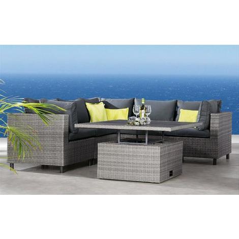 Gartenmöbel Loungemöbel Set Bonaire Best 6 Teilig Polyrattan Grau