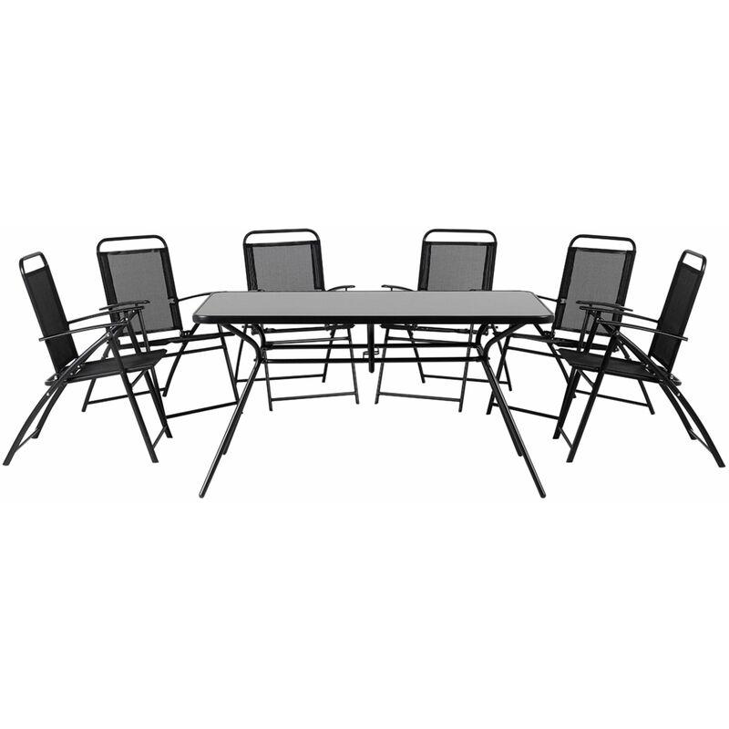 Gartenmöbel Set Schwarz Stahl Sicherheitsglas 6-Sitzer Minimalismus - BELIANI