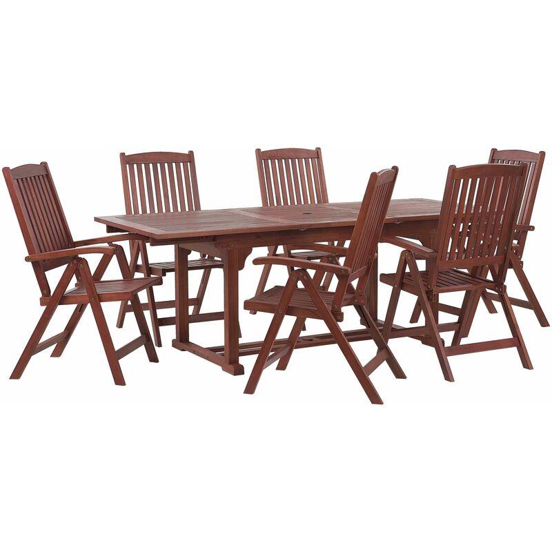 Gartenmöbel Akazienholz Dunkelbraun 6-Sitzer ausziehbarer Tisch Garten Terrasse Balkon Balkonmöbel - BELIANI