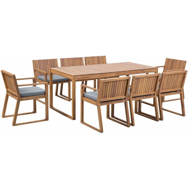 Gartenmöbel Set Akazienholz blaue Sitzkissen 8-Sitzer Terrasse Outdoor Rustikal Landhaus - BELIANI