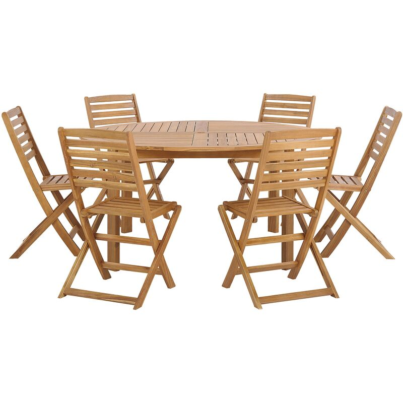 Gartenmöbel Set Braun Akazienholz runder Tisch 150 cm mit 6 klappbaren Stühlen Landhaus Stil Terrasse Balkon Garten Möbel - BELIANI