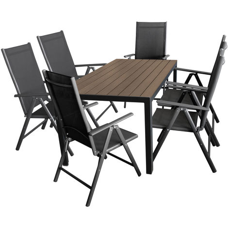 gartenm bel set alu polywood gartentisch 150x90cm brown. Black Bedroom Furniture Sets. Home Design Ideas