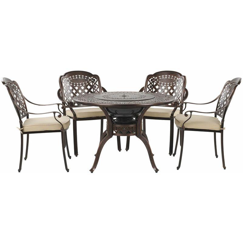 Gartenset 1 Tisch 4 Stühle Grillfunktion Dunkelbraun Aluminium Retro - BELIANI