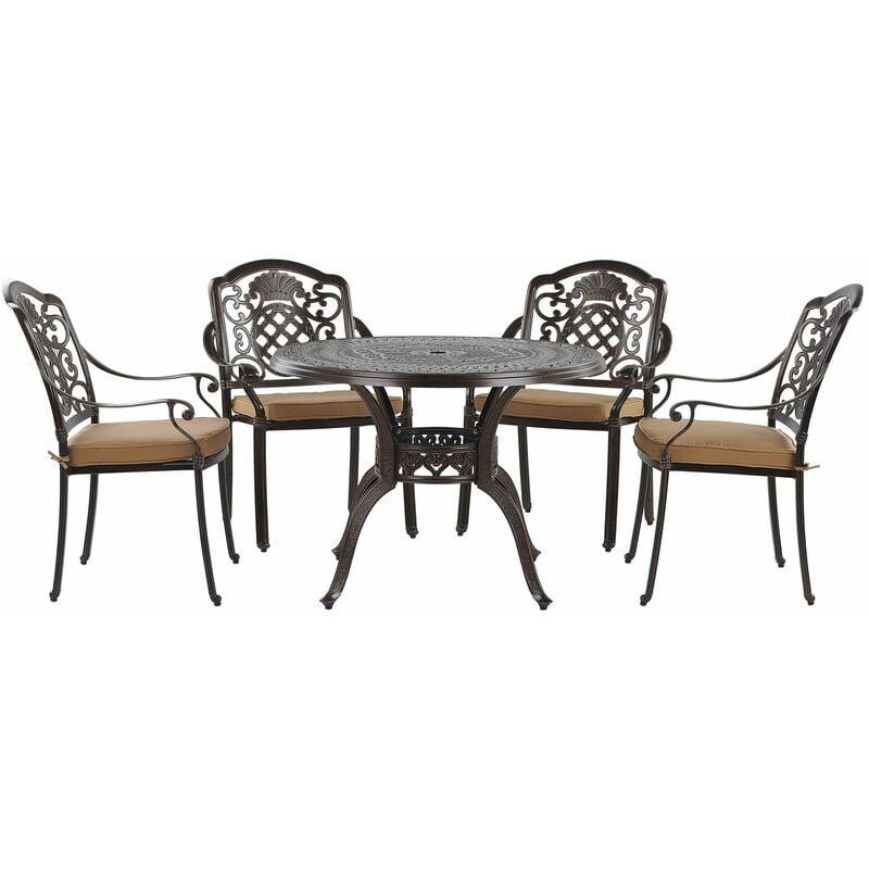 Gartenset Tisch Stühle mit Sitzkissen Bistro Retro-Optik Dunkelbraun Aluminium - BELIANI