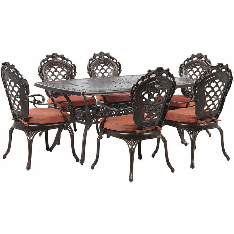 Set Gartenmöbel Tisch 6 Stühle Dunkelbraun Aluminium Elegante Retro-Optik - BELIANI