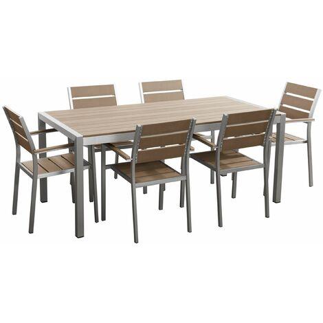 Gartenmöbel Set Aluminium Kunstholz braun 6-Sitzer VERNIO - 17404