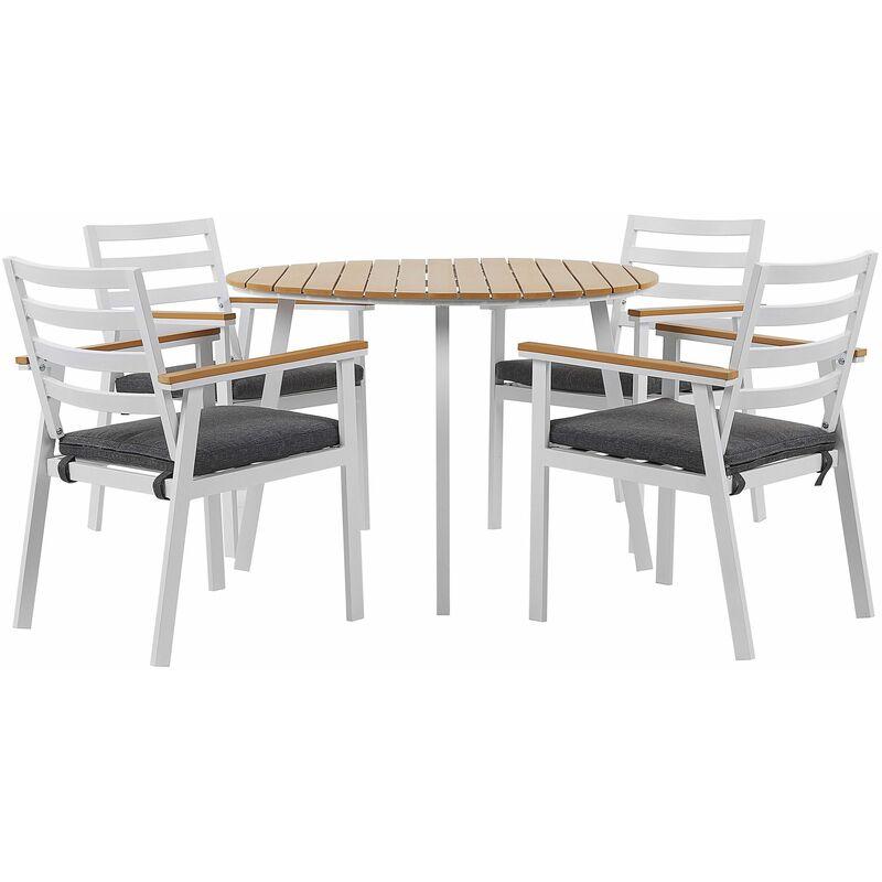 Gartenmöbel Set Tisch mit 4 Stühlen Weiß Alumunium Graues Sitzkissen Outdoor Indoor Garten Salon Wohnzimmer Tarrasse - BELIANI