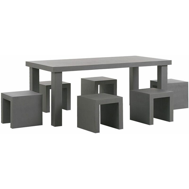 Gartenmöbel Set Grau Beton 6-Sitzer Tisch mit Hockern Industrieller Stil Garten Outdoor & Indoor Terasse, Salon - BELIANI