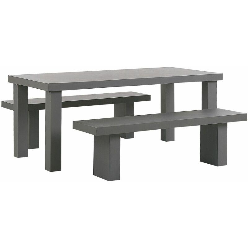 Beliani - Gartenmöbel Set aus Beton mit großem Tisch und 2 Sitzbänken Modern Industriell Stil Indoor & Outdoor