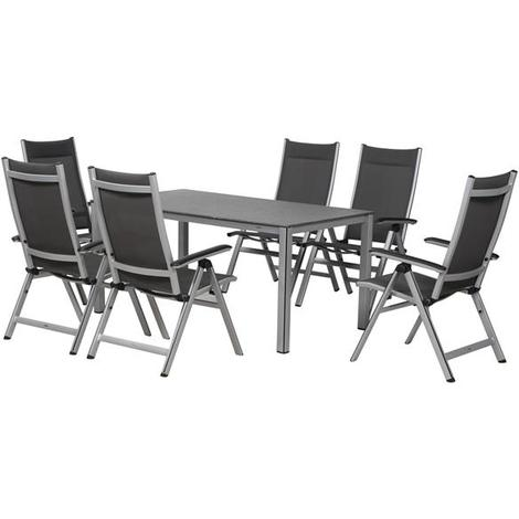 Gartenmöbel Set Core Mwh Rechteckig Alu Silber 7 Teilig 359987360005