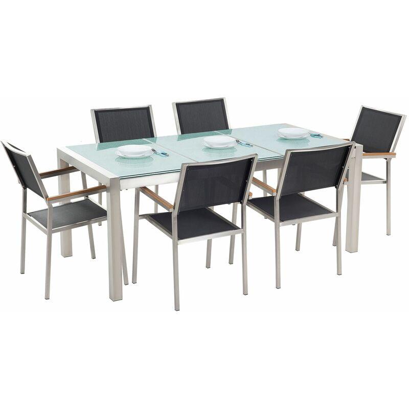 Gartenmöbel Set Schwarz Sicherheitsglas Edelstahl Tisch 180 cm 6 Stühle Terrasse Outdoor Modern