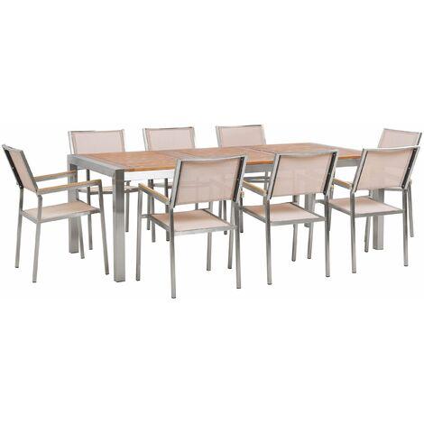 Gartenmöbel Set Eukalyptusholz Edelstahl Tisch 220 cm 8 Stühle Beige Terrasse Outdoor Modern Garten Terrasse