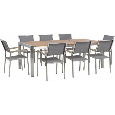 Gartenmöbel Set Eukalyptusholz Edelstahl Tisch 220 cm 8 Stühle Grau Terrasse Outdoor Modern Garten Terrasse