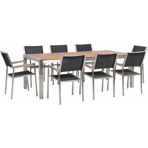 Gartenmöbel Set Eukalyptusholz Edelstahl Tisch 220 cm 8 Stühle Schwarz Terrasse Outdoor Modern Garten Terrasse
