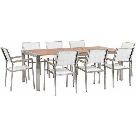 Gartenmöbel Set Eukalyptusholz Edelstahl Tisch 220 cm 8 Stühle Weiß Terrasse Outdoor Modern Garten Terrasse