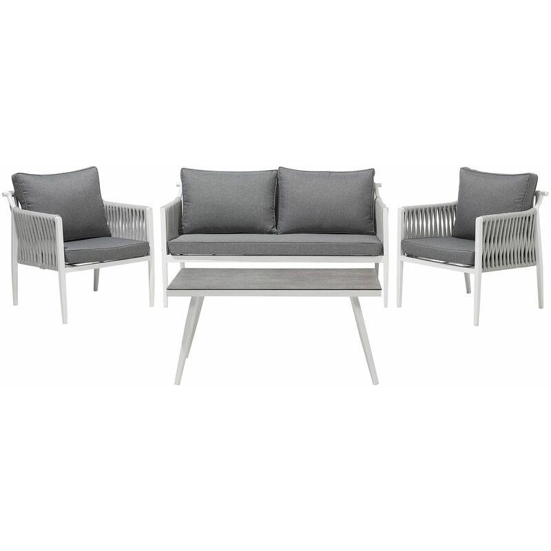 Gartenset Weiß Grau Textil Aluminium 4-Sitzer Seil Look Scandi Stil Minimalistisch Terrasse Outdoor - BELIANI