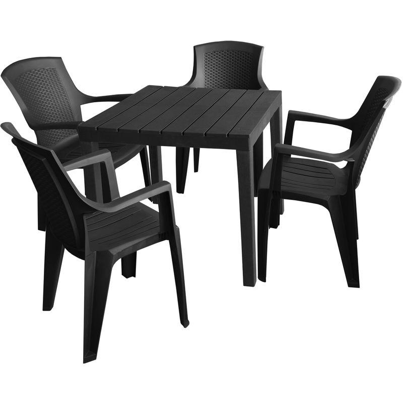 Gartenmöbel-Set Gartentisch, Kunststoff Anthrazit, 78x78cm, Holzoptik + 4x Stapelstühle, Kunststoff Anthrazit, Rattan-Look - MULTISTORE 2002
