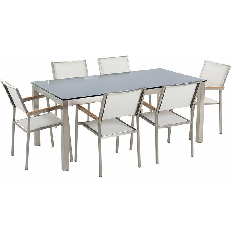 Gartenmöbel Set Schwarz Weiß Sicherheitsglas Edelstahl Tisch 180 cm 6 Stühle Terrasse Outdoor Modern - BELIANI