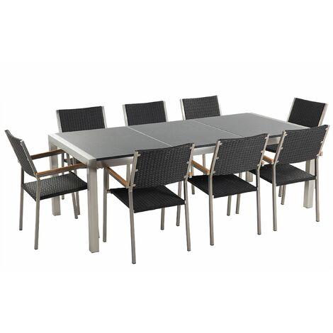 Gartenmöbel Set Grau Granit Edelstahl Tisch 220 cm Poliert 8 Rattanstühle Terrasse Outdoor Modern