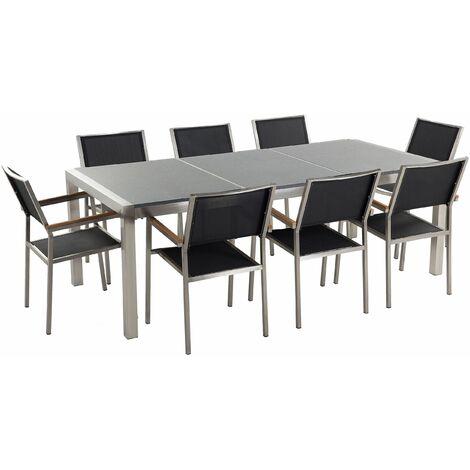 Gartenmöbel Set Grau Granit Edelstahl Tisch 220 cm Poliert 8 Stühle Terrasse Outdoor Modern