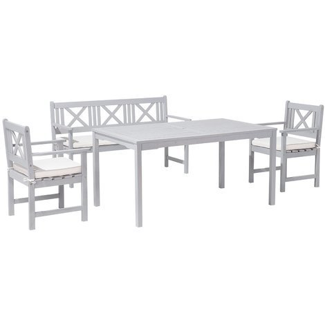 Gartenmöbel Set Holz Grau 4 Sitzer Auflagen Beige Modica 80734