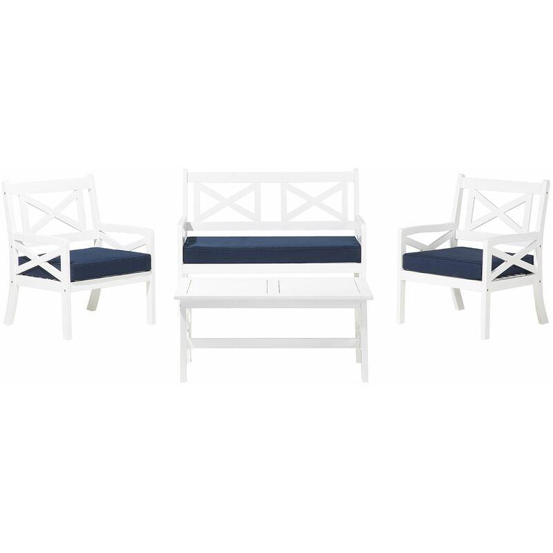 Gartenmöbel Set Weiß Blau Akazienholz inkl. Sitzkissen 4-Sitzer Terrasse Outdoor Mediterran Stil - BELIANI