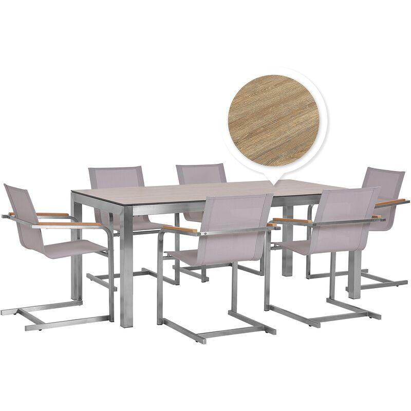 Gartenmöbel Set Braun/Beige Edelstahl HPL-Platte Polyester Tisch Holzoptik 180 cm mit 6 Stühlen Terrasse Outdoor Modern