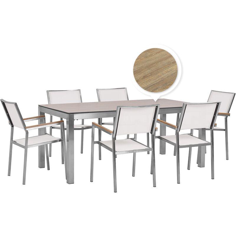 Gartenmöbel Set Braun/Weiß Edelstahl HPL-Platte Tisch 180 cm mit 6 Stühlen Terrasse Outdoor Modern