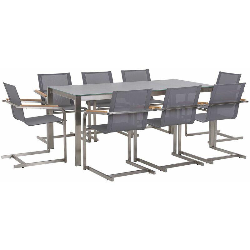 Gartenmöbel Set Grau Edelstahl 8 Stühle Polyester Tisch 180x90 cm Sicherheitsglas Keramik Gartenausstattung Terrasse Outdoor Indoor - BELIANI