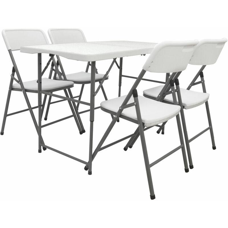Gartenmöbel Set Klappbar - 120cm Tisch mit 4 Stühlen Garten Essgruppe Sitzgruppe - AMANKA