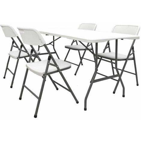 Gartenmöbel Set Klappbar - 180cm Tisch mit 4 Stühlen Garten Sitzgruppe Essgruppe