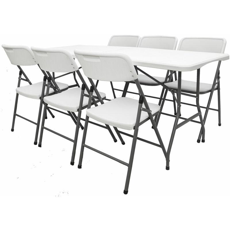 Gartenmöbel Set klappbar - 180cm Tisch mit 6 Stühlen Garten Sitzgruppe Essgruppe - AMANKA