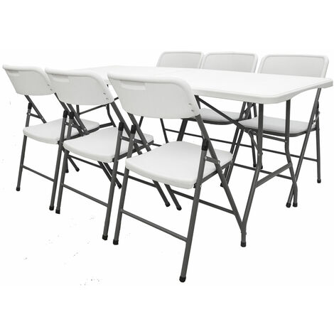 Gartenmöbel Set klappbar - 180cm Tisch mit 6 Stühlen Garten Sitzgruppe Essgruppe