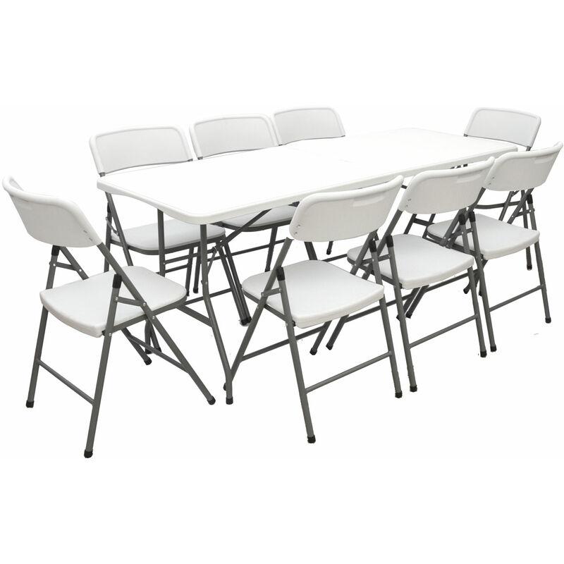 Gartenmöbel Set Klappbar - 180cm Tisch mit 8 Stühlen Garten Sitzgruppe Essgruppe - AMANKA