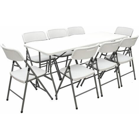 Gartenmöbel Set Klappbar - 180cm Tisch mit 8 Stühlen Garten Sitzgruppe Essgruppe