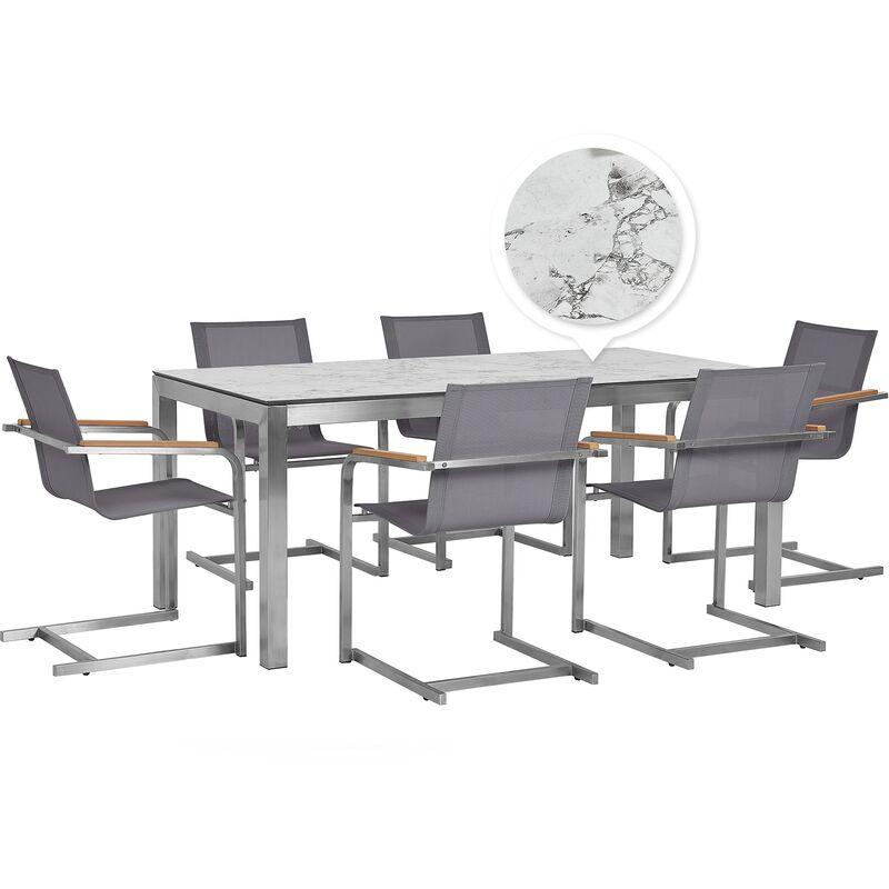Gartenmöbel Set Weiß/Grau Edelstahl HPL-Platte Polyester Tisch Marmoroptik 180 cm mit 6 Stühlen Terrasse Outdoor Modern - BELIANI