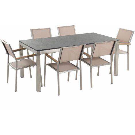 Gartenmöbel Set Naturstein schwarz geflammt 180 x 90 cm 6-Sitzer Stühle Textilbespannung beige GROSSETO