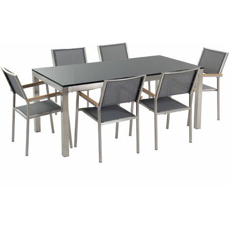 Gartenmöbel Set Naturstein schwarz poliert 180 x 90 cm 6-Sitzer Stühle Textilbespannung grau GROSSETO