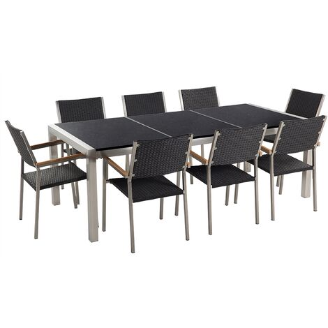 Gartenmöbel Set Naturstein schwarz poliert 220 x 100 cm 8-Sitzer Stühle Rattan GROSSETO