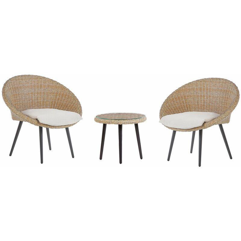 Gartenmöbel Set Beige 2-Sitzer Rattan Stahl Sicherheitsglas Textil inkl. Kissen Balkon Terrasse Outdoor Modernes Design - BELIANI