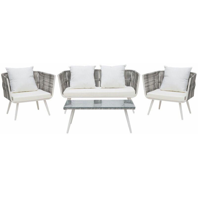 Gartenmöbel Set Cremeweiß Rattan Sicherheitsglas Textil inkl. Kissen 4-Sitzer Terrasse Outdoor Modern - BELIANI
