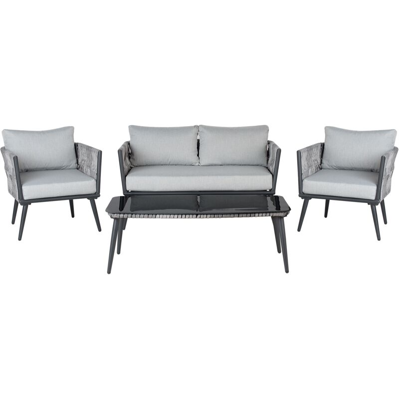 Gartenmöbel Set Grau Schwarz Rattan Aluminium Textil inkl. Kissen 4-Sitzer Terrasse Outdoor Modern - BELIANI