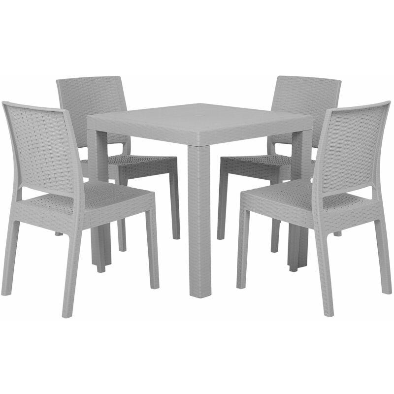 Beliani - Gartenmöbel 4er Set Hellgrau Tisch mit quadratischer Form 80 x 80 cm in Rattanoptik Modern