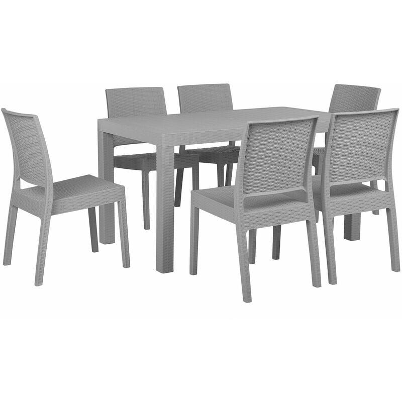 Gartenmöbel 6er Set Grau Tisch 80 x 140 cm in rechteckiger Form in Rattanoptik Modern - BELIANI